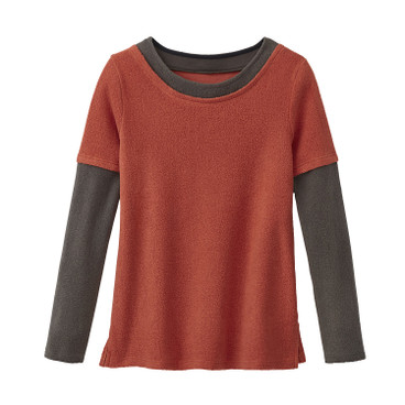 2-in-1 Pullover, rostorange/anthrazit