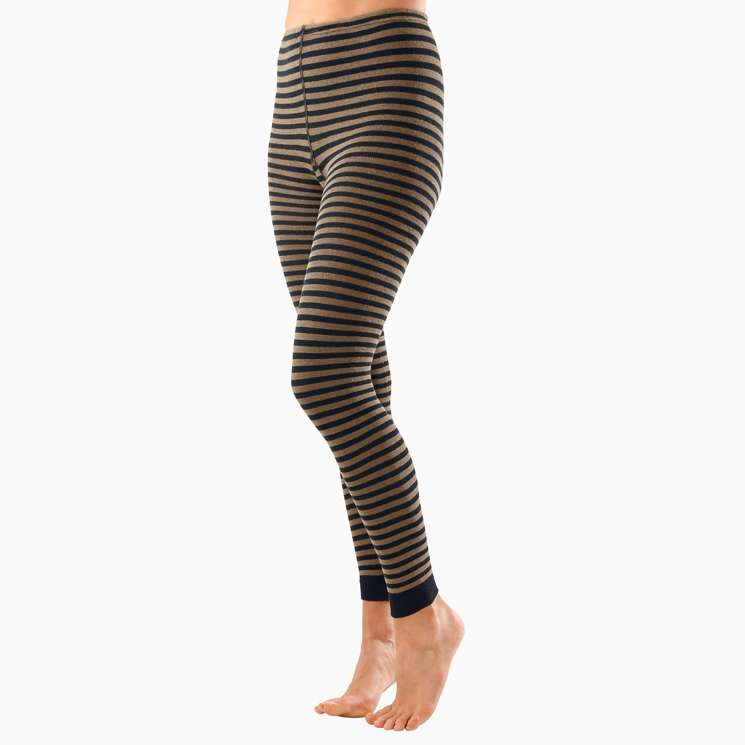 Ringel-Leggings, viola/schiefer