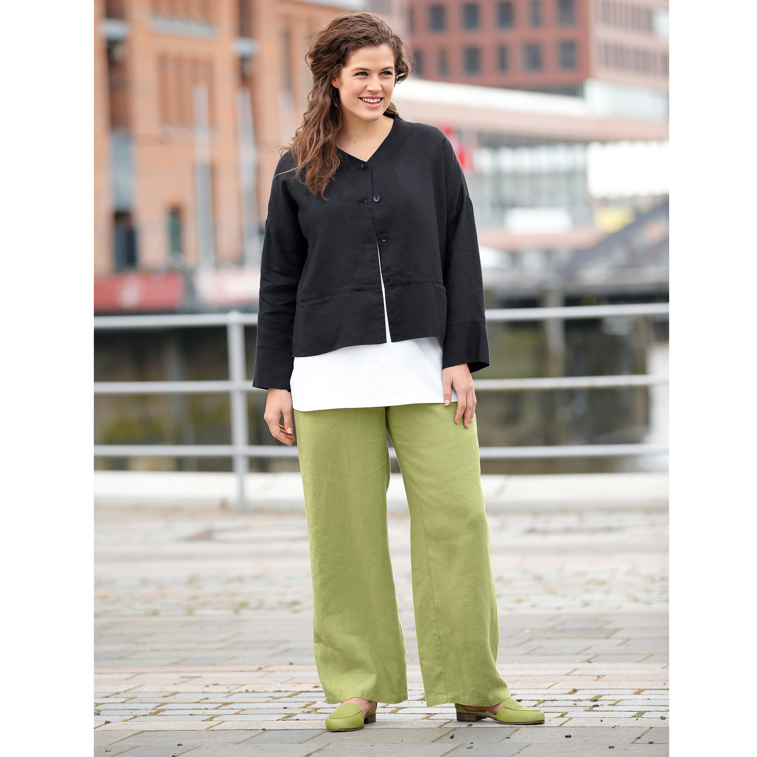 "Leinenhose ""Anne"", avocado"