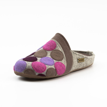 Pantoffel PUNKTE, taupe/bunt
