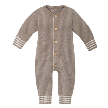 Wollstrick-Overall mit Langarm, taupe