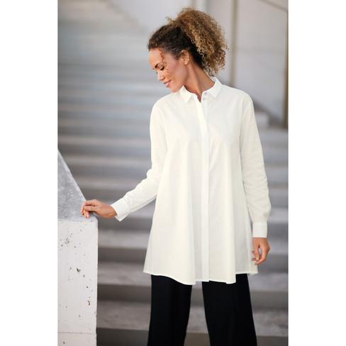 8f6a94f91563 Enna Longbluse in A-Form aus reiner Bio Baumwolle, weiß