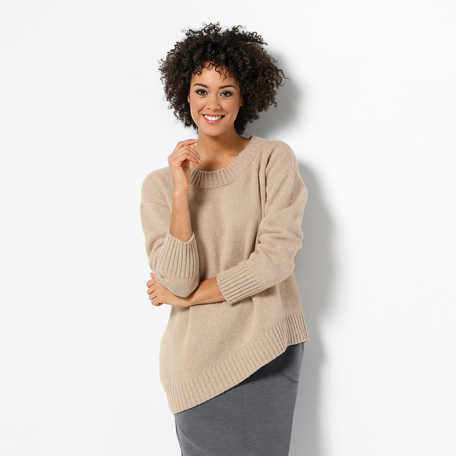 Pullover 1/1 Arm asymm, anthrazit