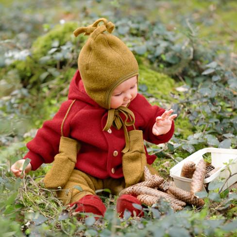 Wollfleece Hose für Babys, tomate
