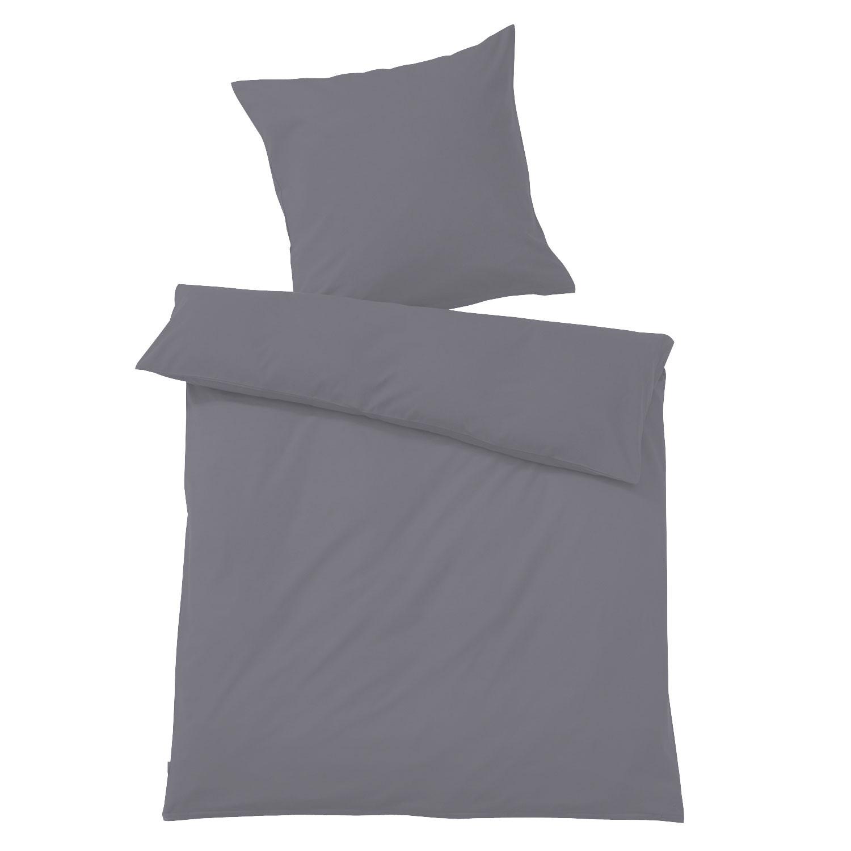 bio flanell bettw sche in unifarben anthrazit. Black Bedroom Furniture Sets. Home Design Ideas