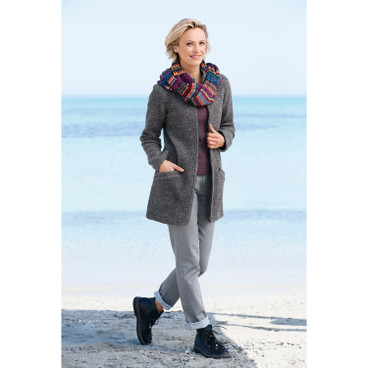 Walkjacke in aktueller Longform, plum